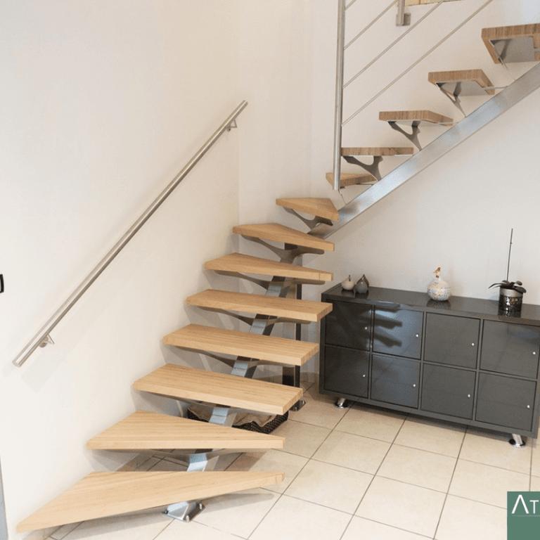 Escalier quart tournant inox et marches BauBuche