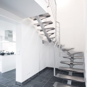 Escalier double quart tournant tout inox brossé