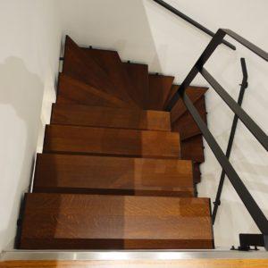Escalier double quart tournant limon crémaillère