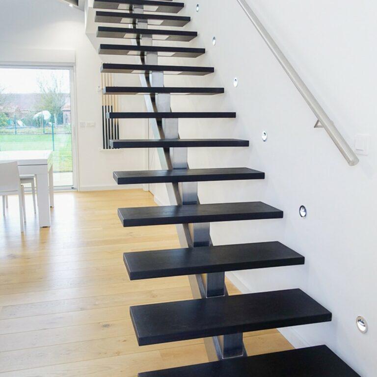 escalier inox brossé et wengé