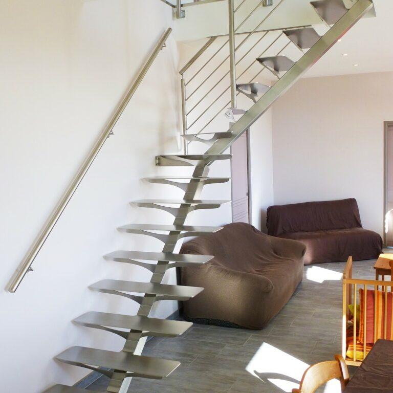escalier quart-tournant inox brossé